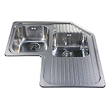 CCP3SS - Stainless steel corner double bowl sink