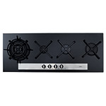 HVG93BL - Four burner gas on glass linear hob