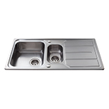 KA32SS - Stainless steel one and a half bowl sink
