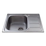 KA55SS - Stainless steel single bowl sink with mini drainer