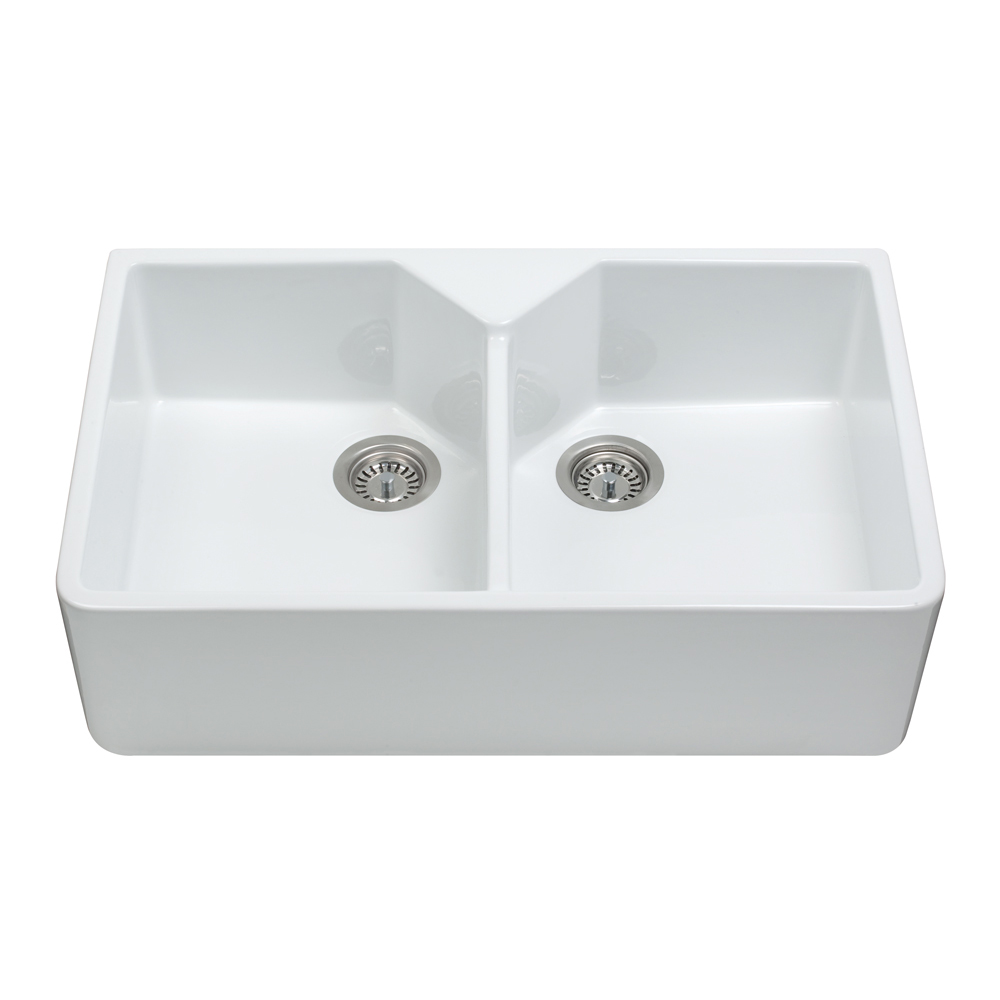 kc12wh ceramic belfast style double bowl sink cda