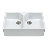 KC12WH - Ceramic Belfast style double bowl sink