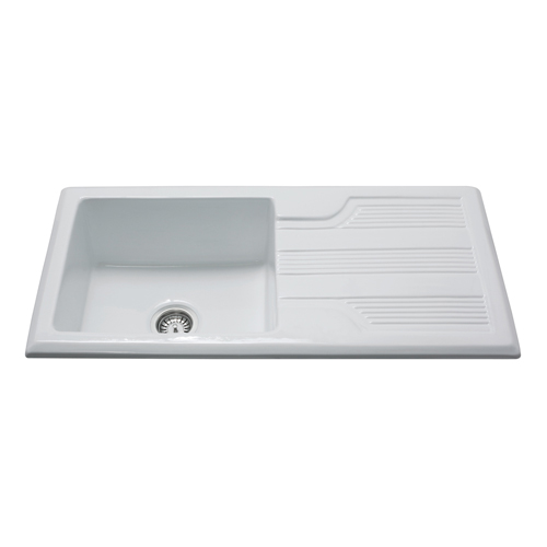 KC23WH - Ceramic single bowl sink
