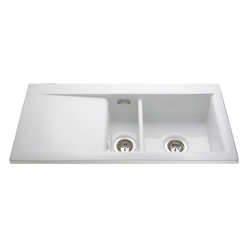 One And A Half Sink Part - 18: KC74WH Ceramic One And A Half Bowl Sink