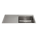 KVF21LSS - Single bowl flush-fit sink with left hand drainer