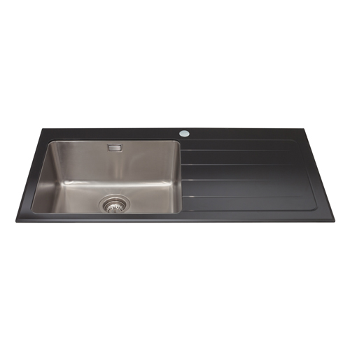 KVL01BL - Glass single bowl sink with right hand drainer