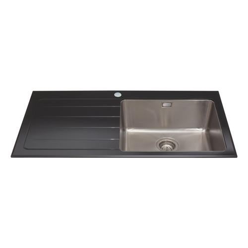 KVL01LBL - Glass single bowl sink with left hand drainer