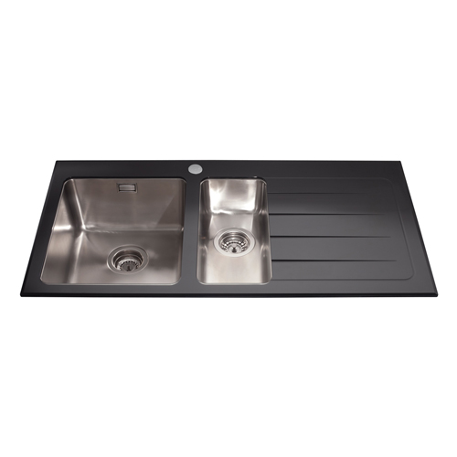 KVL02BL - Glass one and a half bowl sink right hand drainer