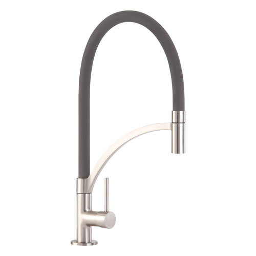 TV14GR - Single lever tap with grey pull-out spout
