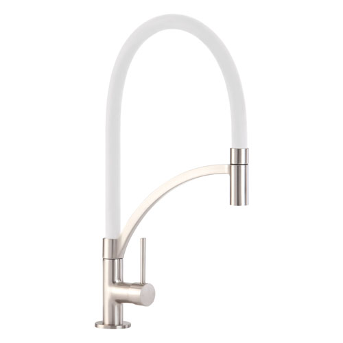 TV14WH - Single lever tap with white pull-out spout