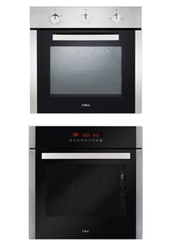 a gas oven and an electric oven