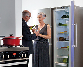 a picture of a freestanding fridge