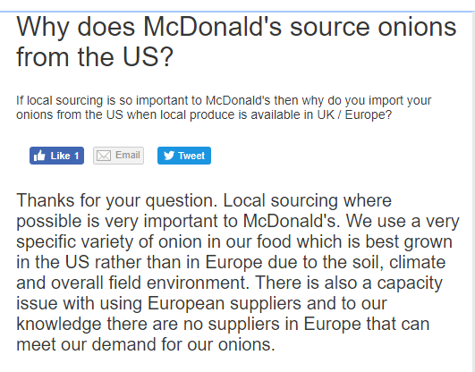 mcdonalds comments on big mac onions