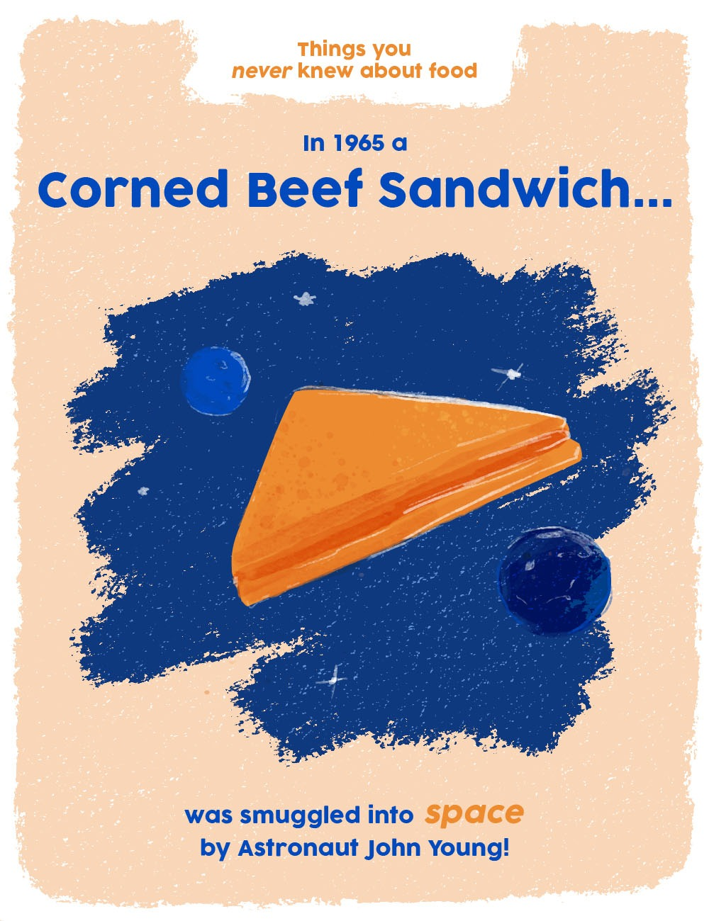 things you never knew about food graphics - corned beef sandwich in space