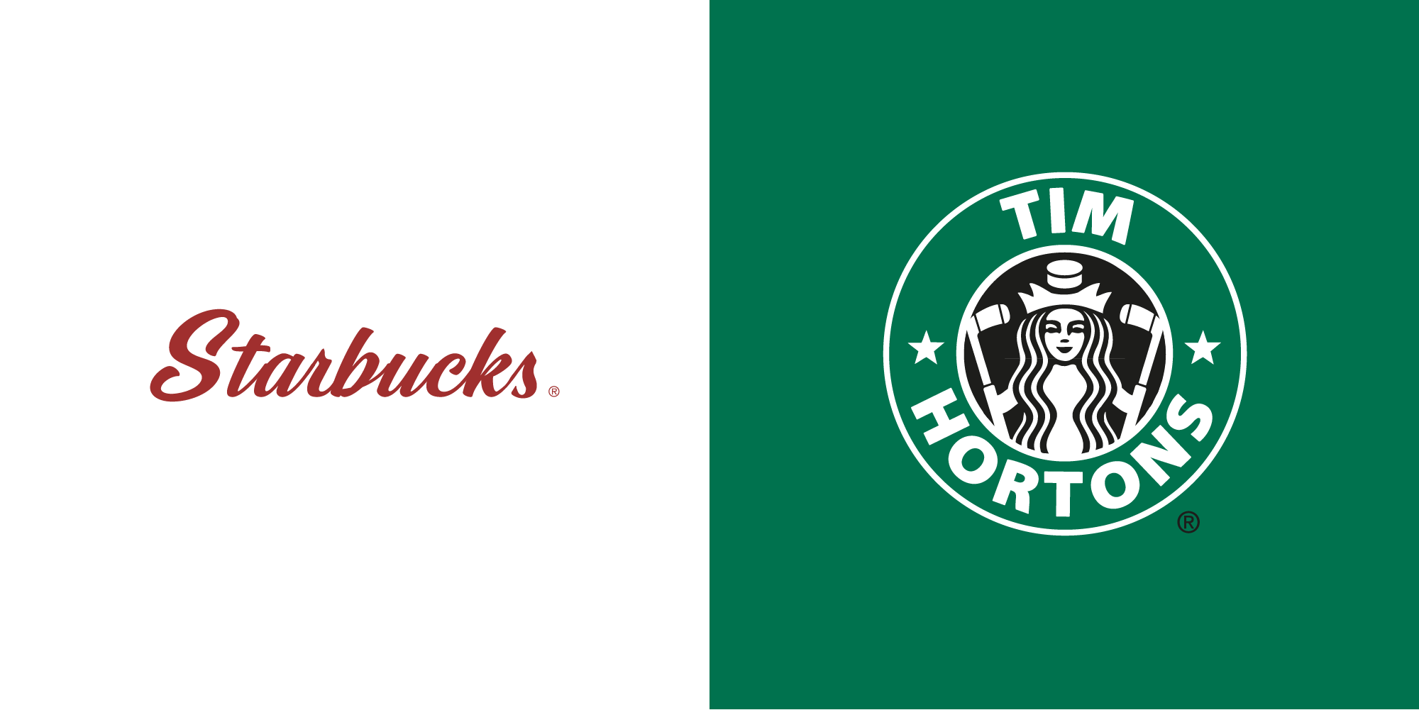 Starbucks Vs Tom Hortons logo - CDA